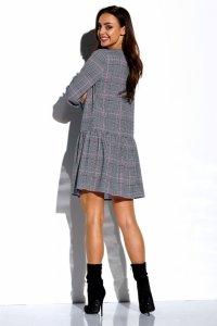 Koszulowa sukienka z falbaną i guziczkami L311 druk 4