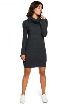 BK010 Swetrowa mini sukienka z golfem - grafit
