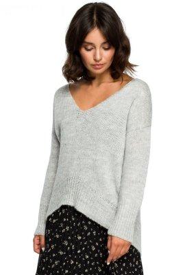 BK012 Sweter z asymetrycznym dołem - popielaty