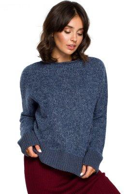 BK015 Sweter o kimonowych rękawach - niebieski