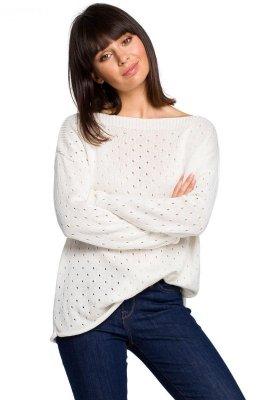 BK019 Sweter z oczkami - ecru