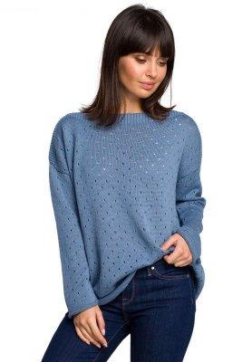 BK019 Sweter z oczkami - niebieski