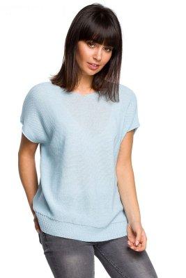 BK021 Bluzka sweterkowa z dekoltem na plecach - błękitna