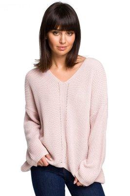BK026 Sweter asymetryczny - różowy