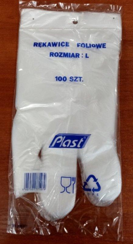 Rękawice foliowe Hdpe 100 szt rozmiar L /Z100/