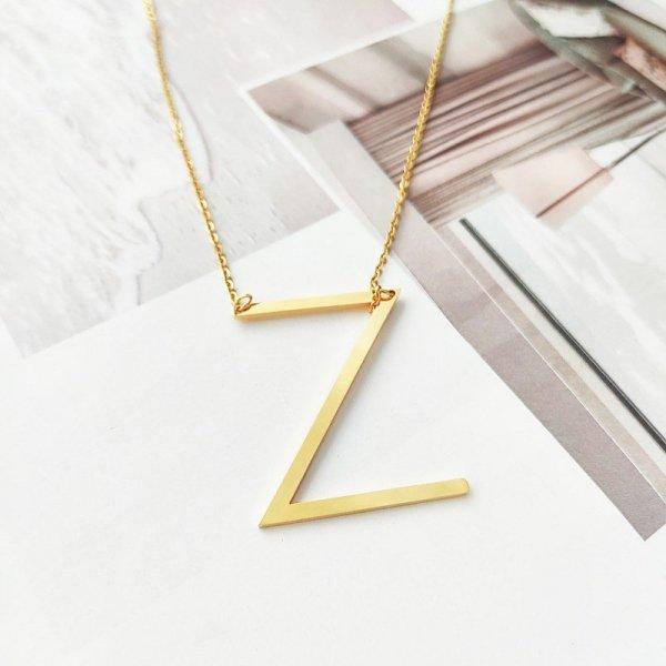 Naszyjnik stal chirurgiczna literka Z platerowana złotem NST995Z
