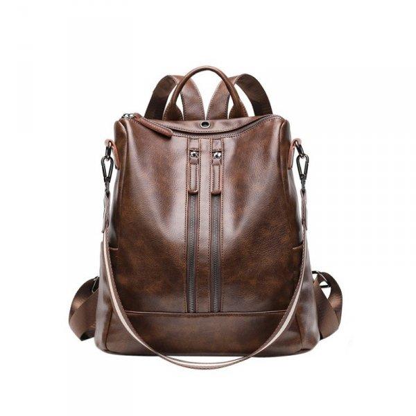 Plecak skóra woskowana elegancki model - brąz PL148BR