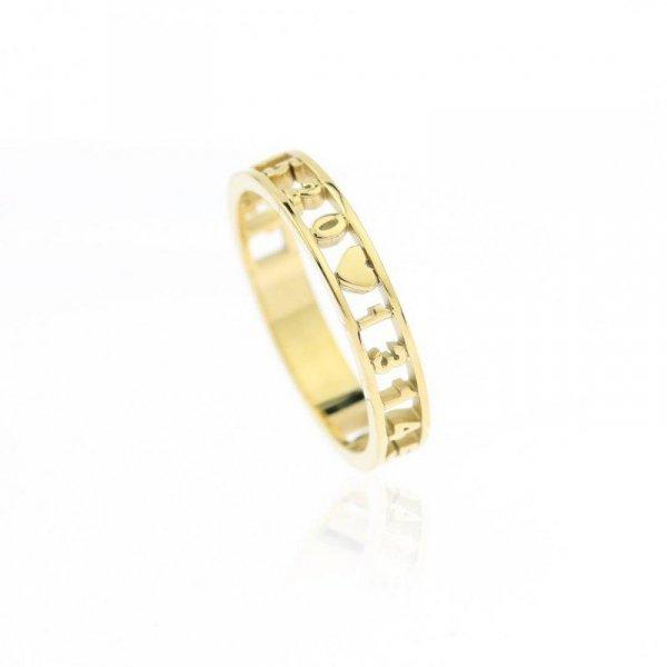 Pierścionek stal chirurgiczna platerowana złotem PST601, Rozmiar pierścionków: US8 EU17