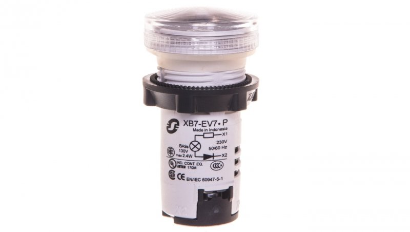 Lampka sygnalizacyjna 22mm biała 230V AC żarówka XB7EV77P