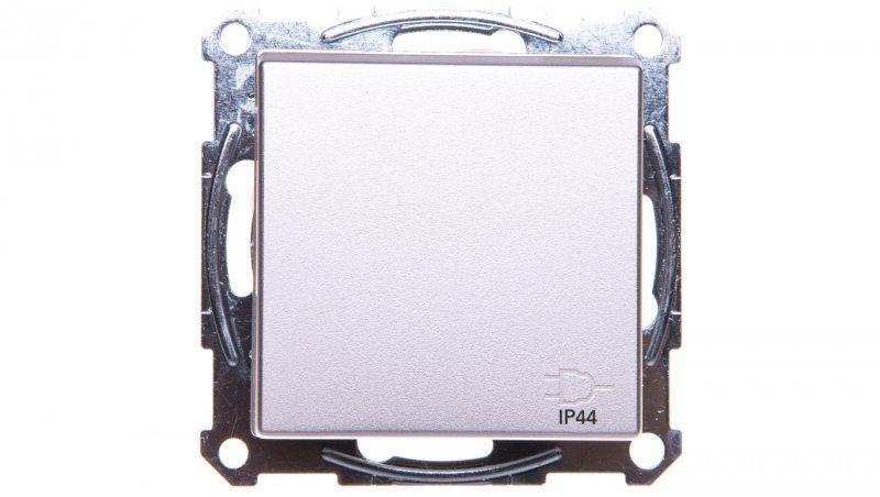 Merten System M Gniazdo pojedyncze z/u 16A IP20 z przesłonami i klapką aluminium MTN2614-0460