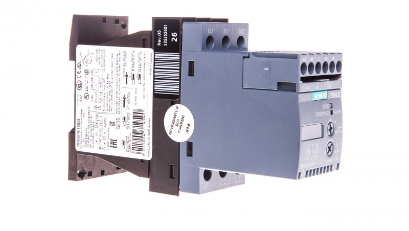 Softstart 3-fazowy 200-480VAC 6,5A 3kW/400V Uc=24V AC/DC S00 3RW3014-1BB04