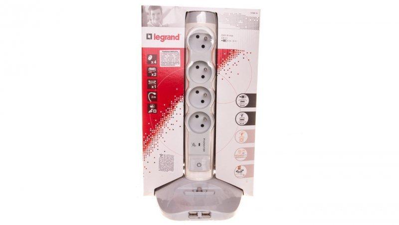 HELMO Przedłużacz biurkowy stojący 4xgniazda z/u 16A 230V + 2xUSB +1xmicroUSB przewód 2m 50014