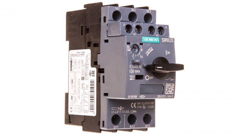 Wyłącznik silnikowy 3P 4kW 5,5-8A 1Z 1R S00 3RV2011-1HA15