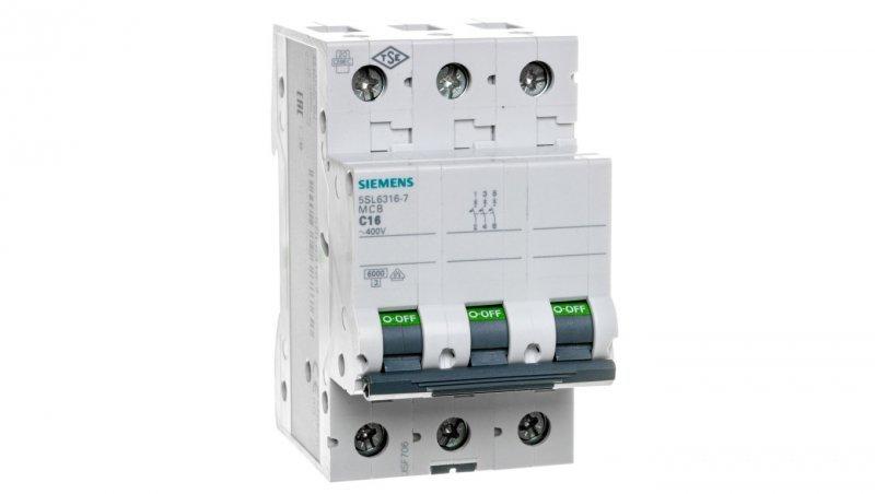 Wyłącznik nadprądowy 3P C 16A 6kA AC 5SL6316-7