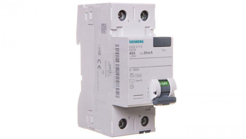 Wyłącznik różnicowoprądowy 2P 80A 0,03A typ AC 5SV4317-0