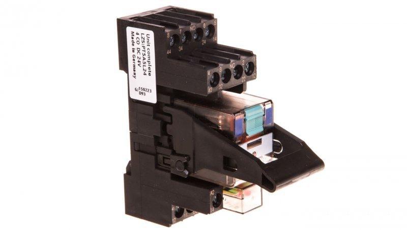 Przekaźnik przemysłowy kompletny 4P 24V DC na szynę 35mm z sygnalizacją LED AgNi LZS:PT5A5L24