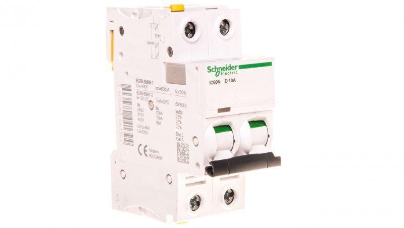 Wyłącznik nadprądowy 2P D 10A 6kA AC iC60N-D10-2 A9F05210