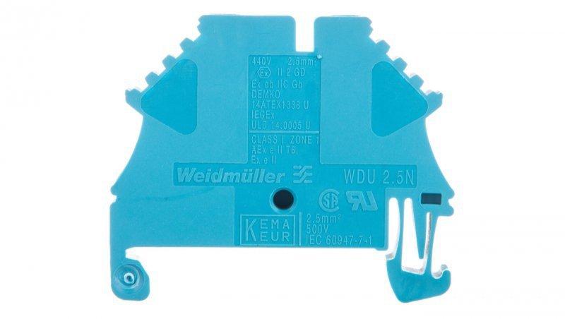 Złączka szynowa przelotowa 2-przewodowa 2,5mm2 niebieska ATEX WDU 2.5N BL 1023780000