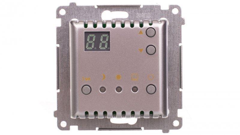 Simon 54 Regulator temperatury z wyświetlaczem z czujnikiem wewnętrznym 16(2) A 230V srebrny mat DTRNW.01/43