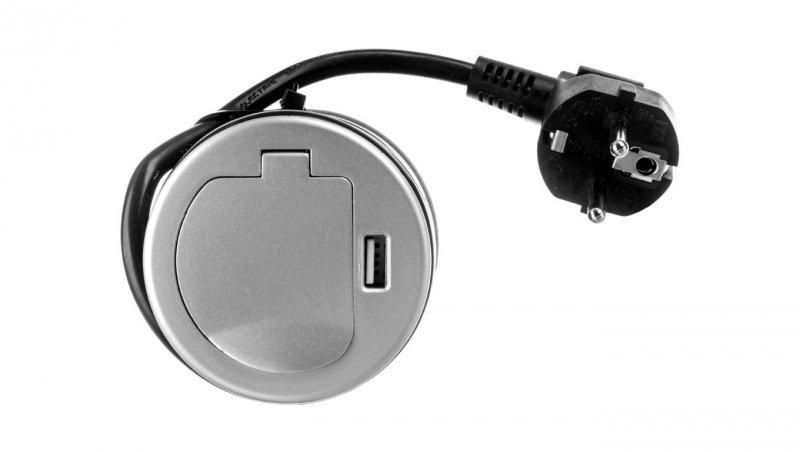 Gniazdo meblowe wpuszczane w blat 1x250V AC z pokrywką, ładowarką USB i przewodem 1,8m OR-AE-1373