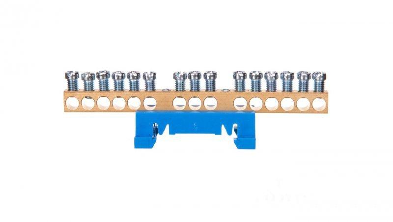 Zacisk przyłączeniowy na TS35, neutralny N, 15-polowy, 15x16mm2 870N/15 niebieski 89814003