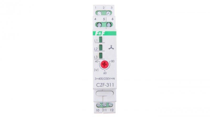 Przekaźnik zaniku i asymetrii faz 10A 1P 4sek 40-80V CZF-311