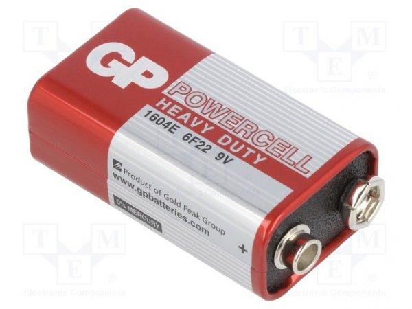 Bateria: cynkowo-węglowa; 9V; 6F22; POWERCELL; nieładowalna