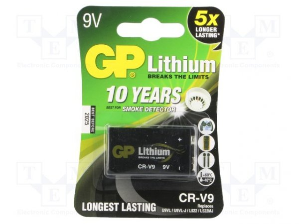 Bateria: litowa; 9V; 6F22; Il.bat: 1; nieładowalna