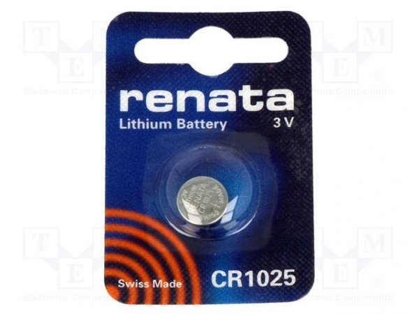 Bateria: litowa; 3V; CR1025,pastylkowa; Il.bat: 1; Ø10x2,5mm; 30mAh