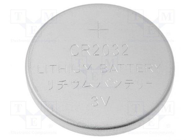 Bateria: litowa; 3V; CR2032,pastylkowa; Ø20x3,2mm; 210mAh