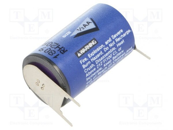 Bateria: litowa; 3,6V; 1/2AA; do druku; Ø14,3x24,6mm; 1200mAh
