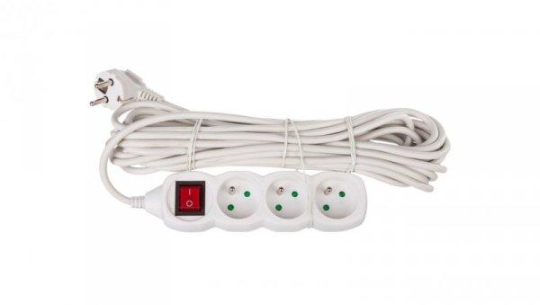 Przedłużacz z wyłącznikiem 3-gniazda z/u 10m /H05VV-F 3G1/ biały P1310