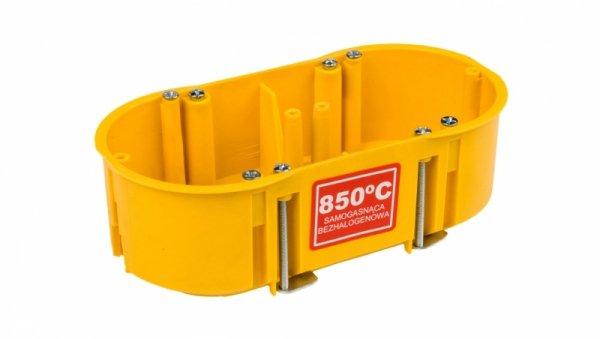 Puszka podtynkowa podwójna 60mm regips samogasnąca żółta PK-2x60 0210-0N