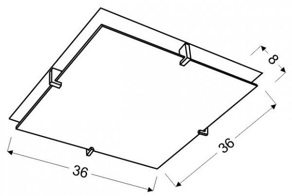 FIKUS PLAFON 36X36 2X60W E27 CHROM