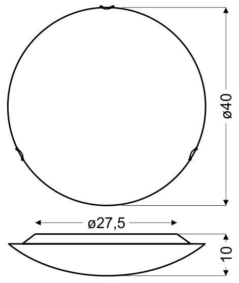 PRISTINA PLAFON 40 1X16W LED 3000K