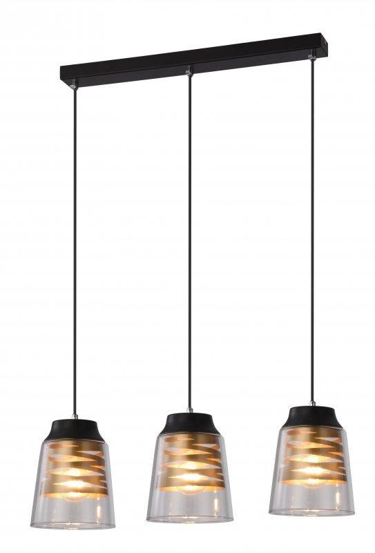 FRESNO LAMPA WISZĄCA CZARNY 3X60W E27 KLOSZ BEZBARWNY