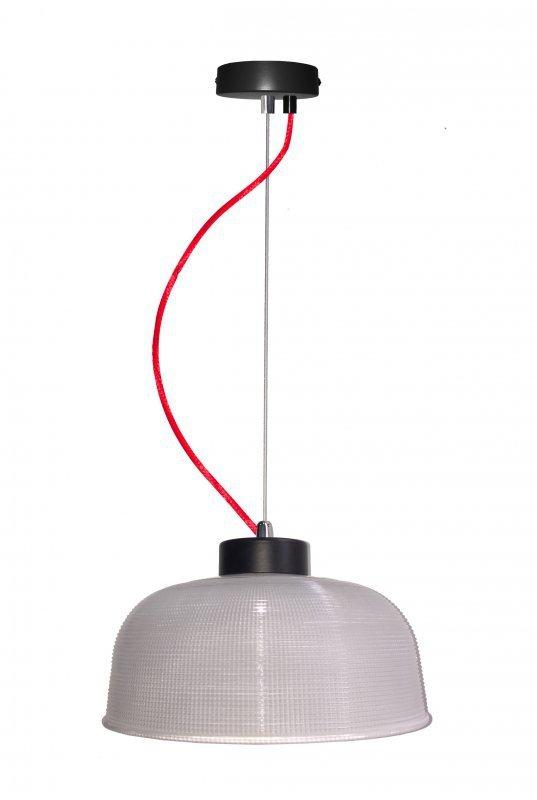 LIVERPOOL LAMPA WISZĄCA 1X40W E27 PRZEŹROCZYSTE SZKŁO, CZERWONY KABEL