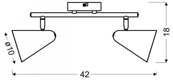 AMOR LISTWA 2X40W E14 BANANOWY