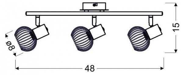 OSLO LISTWA 3X40W E14 CZARNY/CHROM