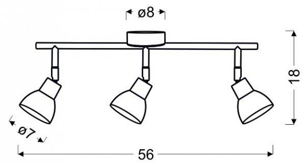 ROY LISTWA 3X5W LED COB GŁÓWKA OKRĄGŁA 1E Z PRZEGUBEM KD SYSTEM BIAŁY