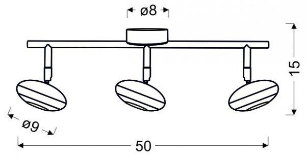 SKIPPER LISTWA 3X6W LED COB GŁÓWKA OKRĄGŁA 1E Z PRZEGUBEM KD SYSTEM CHROM