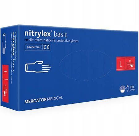"""NITRYLEX BASIC """"L"""" RĘKAWICE BEZPUDROWE A100"""