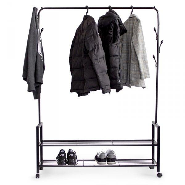 Wieszak stojący z 2 półkami stojak z kółkami na odzież