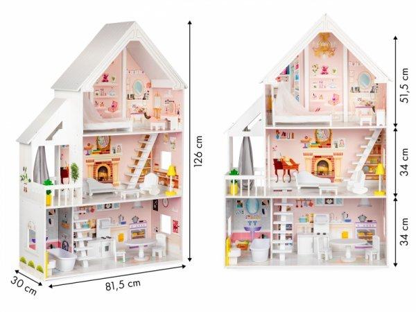 Drewniany domek dla lalek xxl Rezydencja pudrowa ECOTOYS