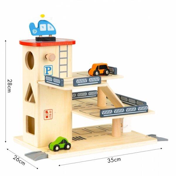 Drewniany tor garaż zabawka parking z windą +autka
