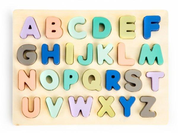Drewniana tablica edukacyjna  litery cyfry 51 el.