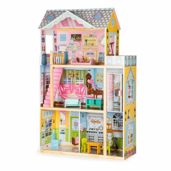 Drewniany domek dla lalek z windą + meble ECOTOYS