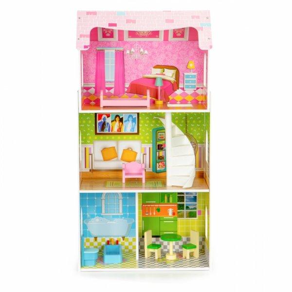 Wysoki drewniany domek dla lalek + mebelki ECOTOYS