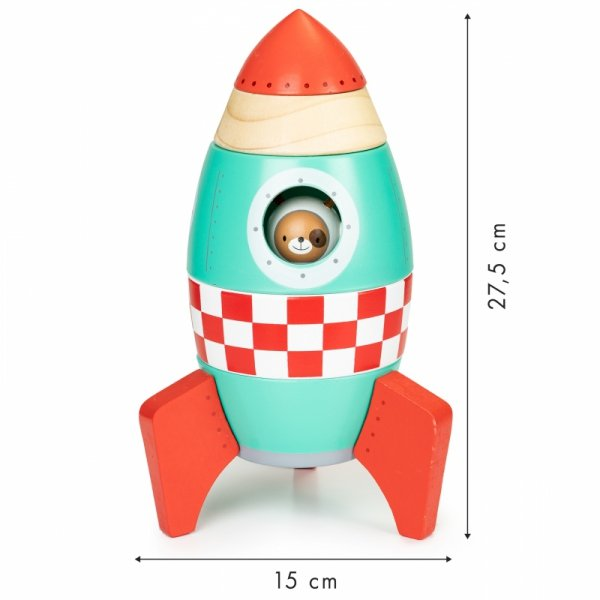 Drewniana rakieta układanka piramida ECOTOYS
