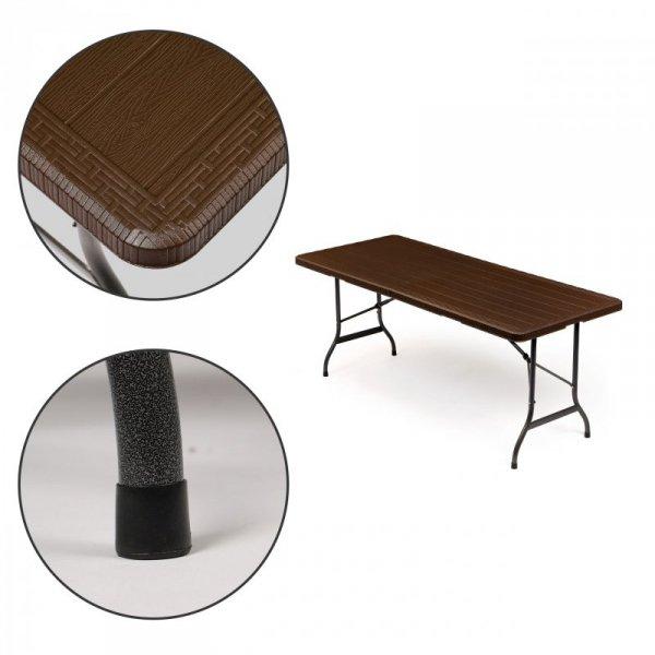 Stół cateringowy bankietowy ogrodowy składany 180  brązowy